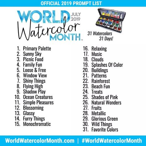 Creative Prompts For World Watercolor Month In 2020 Watercolour