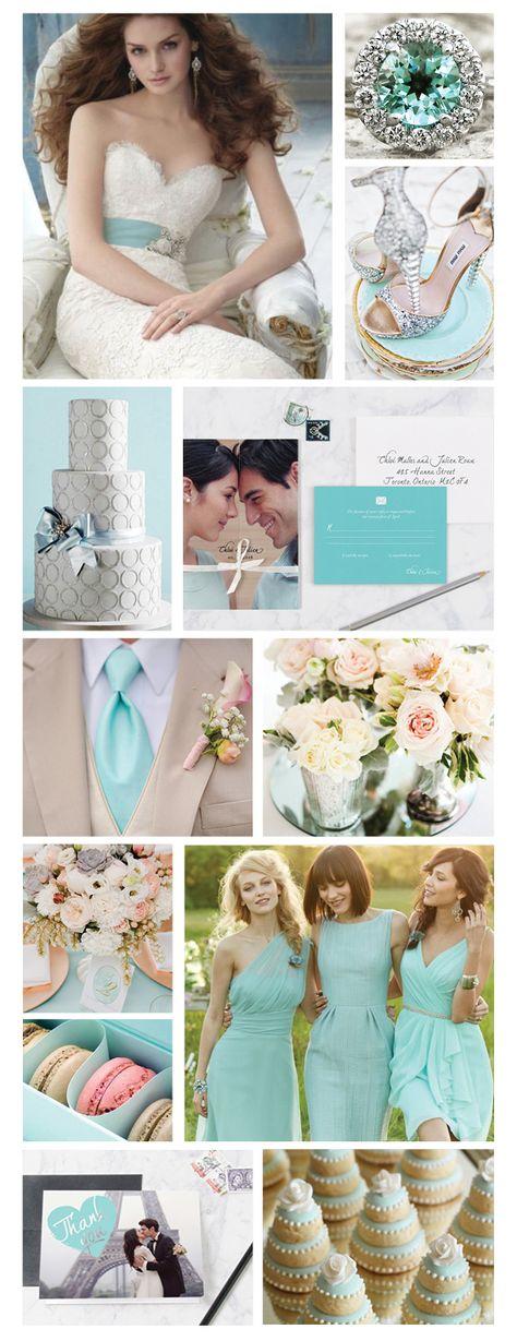 Tiffany & Silver wedding colour board via Blush & Gray blushandgray.com