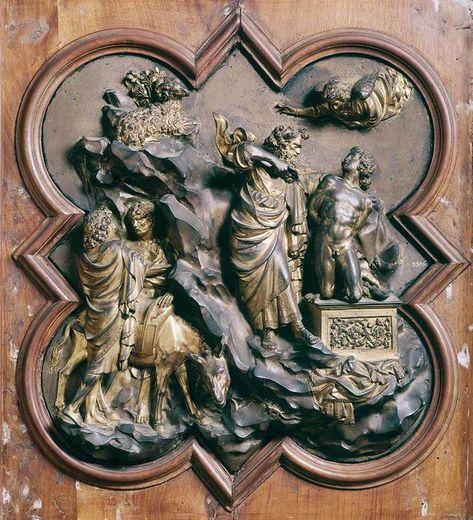 Detalle Del Sacrificio De Isaac De Las Puertas Del Baptisterio De