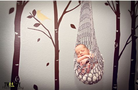 Sweet baby boy photo shoot featuring an infant stork sack prop with a woodland theme tree mural background