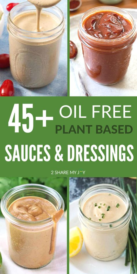 Oil free vegan sauces and dressings. Plant based condiments without oil using whole plant foods. Great for poke bowls, buddha bowls, and salads. Plant Based Whole Foods, Plant Based Eating, Plant Based Diet, Plant Based Recipes, Oil Free Salad Dressing, Fat Free Salad Dressing Recipe, Ranch Dressing, Fat Free Vegan, Vegan Sauces