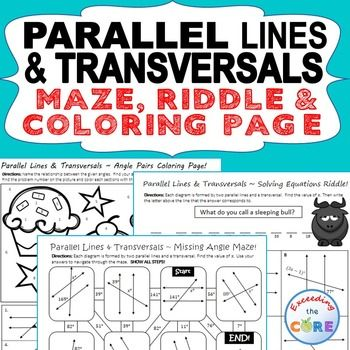 Parallel Lines And Transversal Maze Riddle Color By Number Fun