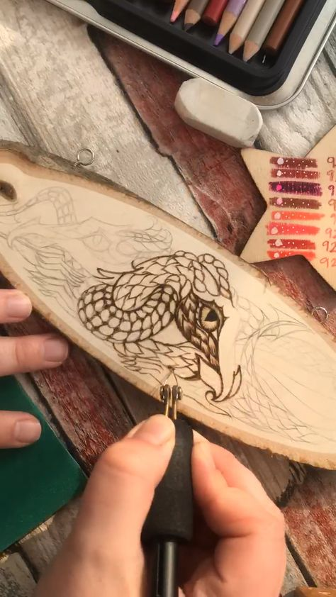 This is a progress timelapse video of a dragon plaque, hand burned using pyrography. It will be available in my shop soon!