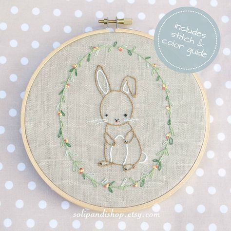 Little Bunny, Hand Embroidery PDF Pattern - Instand Digital Download // Hand Embroidery Design // Nu