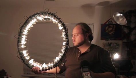Build a Cheap Ring Light Using Christmas Lights and a Wreath Frame