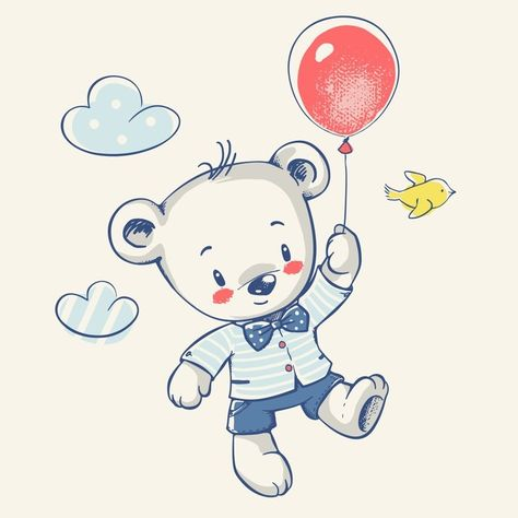 Cute Little Bear Flying On A Balloon Cartoon Hand Drawn Vector