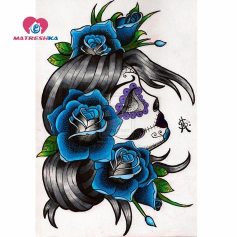 5D DIY Diamond Painting. Blue Roses Sugar Skull Drawing. Square drill, 5 kit sizes to pick from.