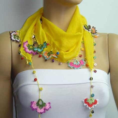 SUMMER SALE Crocheted YELLOW scarf with handmade multi color oya flowers lace ed.