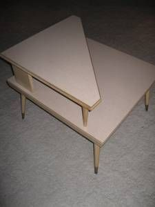Vintage Walnut Formica Twotier Matching End Table Set Midcentury - Mid century modern formica table