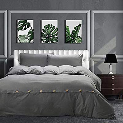 Amazon Com Moma Grey Cotton King Size Duvet Cover Set 3 Pieces Button Closure Oversized Soft Comforter Duvet Cover Sets King Size Duvet King Size Duvet Covers