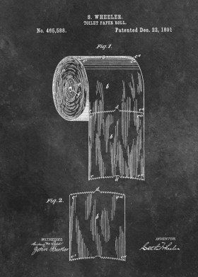 1891 Wheeler Toilet Paper Roll Poster Print By Lion Mixart Displate In 2020 Toilet Paper Patent Print Toilet Paper Patent Toilet Paper Roll