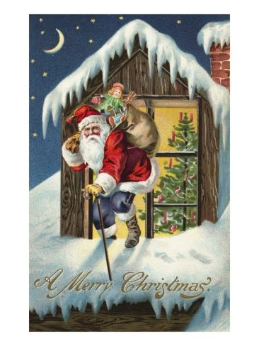 Originelle Weihnachtsbilder.A Merry Christmas With Santa Claus On Roof Paintings I Would Love