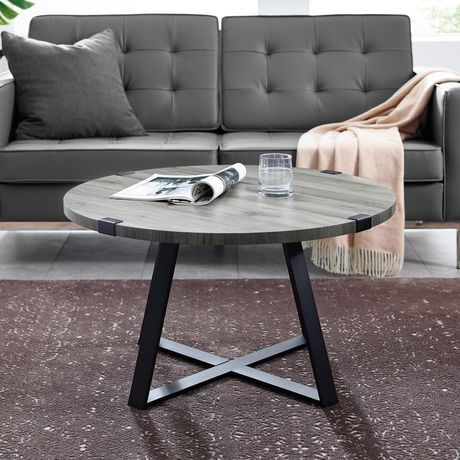 Manor Park Rustic Round Coffee Table Dark Concrete Slate Grey