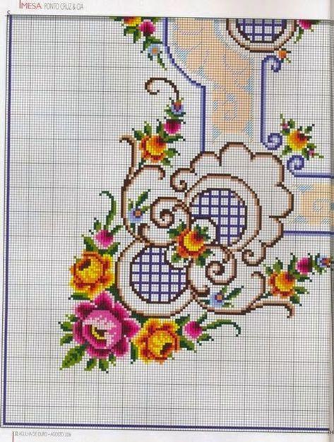 Flores Graficos Ponto Cruz Ponto Cruz Padroes De Bordado
