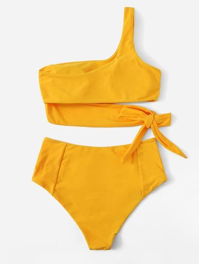 Top Con Un Hombro Con Set De Bikini De Cintura Alta Bikini De