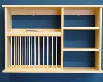 Under Cabinet Wood Plate Dish Rack Cabinet Shelf Kitchen Holds Etsy In 2020 Dish Racks Spice Organization Plate Racks