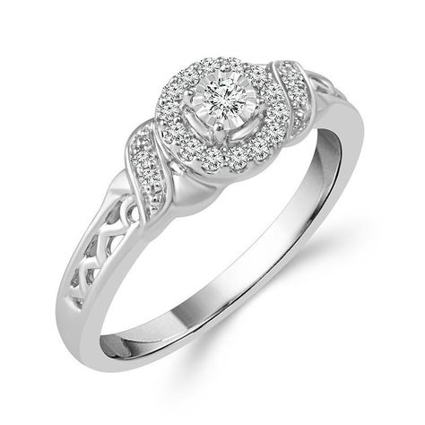 Sterling Silver Round Halo Diamond Promise Ring with 1/6cttw