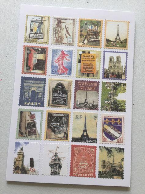 Paris Vintage Stamp Stickers, Postage Stamp Stickers, Scrapbooking Stickers, Decorative Stickers, Card Embellishment by dadastickers on Etsy https://www.etsy.com/listing/280371384/paris-vintage-stamp-stickers-postage