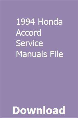 1994 Honda Accord Service Manuals File Honda Accord Honda Honda Accord Ex