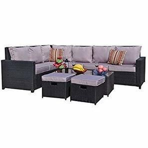 Yakoe 70009r Conservatory Modular Rattan Outdoor Garden Furniture 8 Seater Corner Sofa Set With Furniture Fitting Cover Black 180 5 X 240 5 X 70 Cm Amazon Co