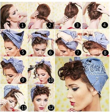 50s Hairstyles With Bandana Tutorial Foto Video Rockabilly Hair Scarf Hairstyles Retro Hairstyles