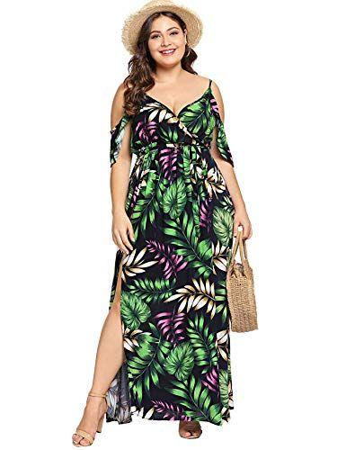 Milumia Womens Plus Size Cold Shoulder Floral Slit Hem Tropical Summer Maxi Dress Green-1 1XL