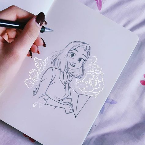 """""""Mi piace"""": 91, commenti: 4 - Catherine Ciminà (@sketchesandtea_) su Instagram: """"Sunday sketch of Meg from the short movie Paperman 💋 of @disneyanimation • Absolutely in love with…"""""""