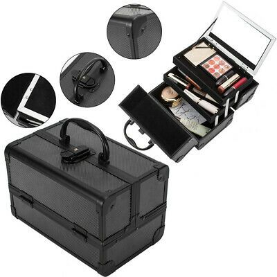 Advertisement Makeup Train Case Large Capacity Cosmetic Organizer Storage Box With Mirror Usa