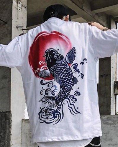c60d86a8d70 Japanese koi t shirt for men oversized hip hop t shirts short sleeve ...