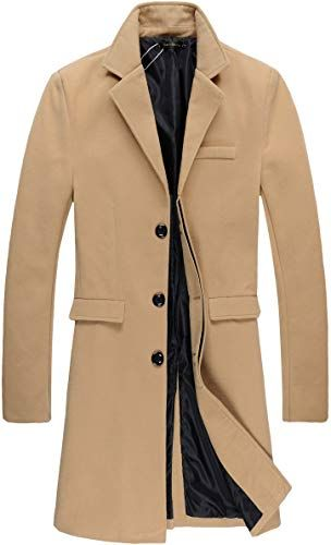 Trench Coat Men Big and Tall.Fashion Mens Autumn Winter Casual Leather Zipper Long Sleeve Jacket Coat Tops