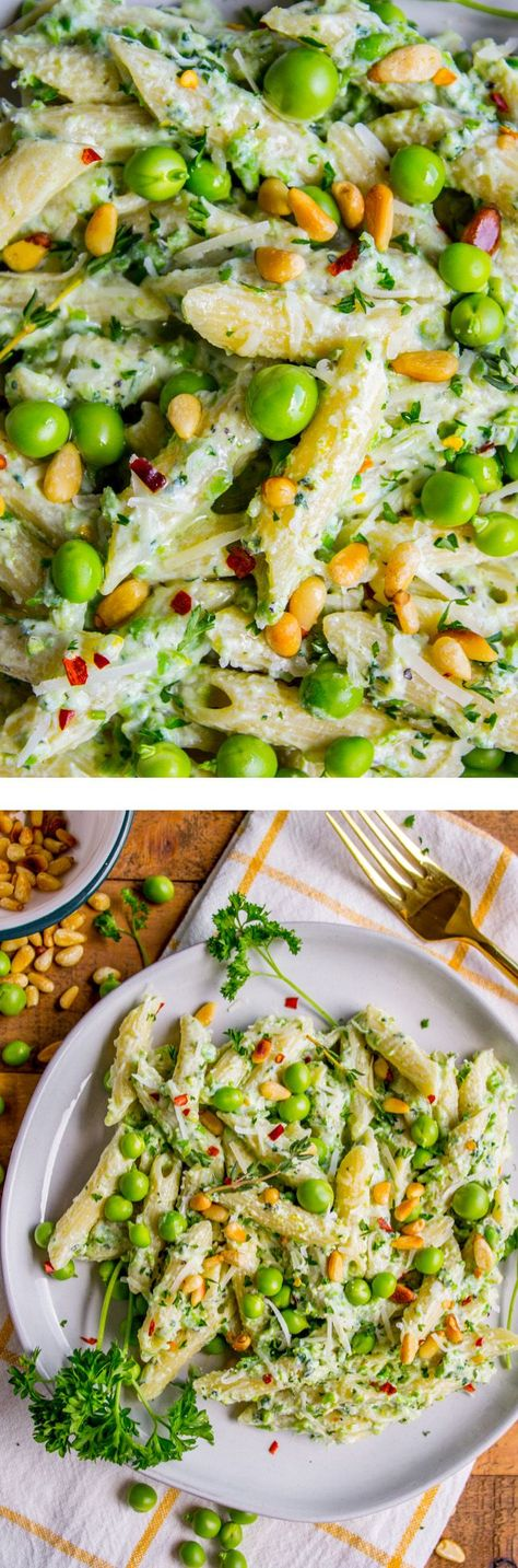 Lemon Ricotta Pasta with Fresh Peas (30 Minutes) from The Food Charlatan. This lemon pasta recipe is perfect for summer! It is so easy and done in 30 minutes. The cheesy sauce is made by blending ricotta with peas and lemon. Top it with Parmesan and garden fresh peas, and you have a hearty vegetarian dinner! It's so good! #pasta #lemonpasta #ricotta #ricottapasta #peas #freshpeas #pinenuts #summer #easy #easyrecipe #30minutes #parmesan #garlic #creamy #sauce #healthy #vegetarian #onepot