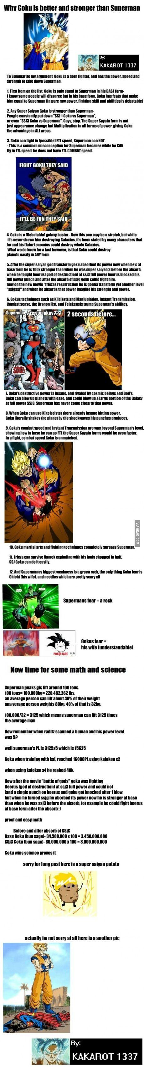 Goku Vs Superman The Truth That Hurts Dc Fanboys Goku Vs Goku Goku Vs Superman