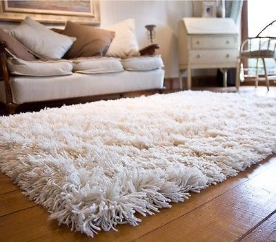 Woolen Shag Shaggy Area Rug Carpet (4' x 6') -Soft Off White Piles