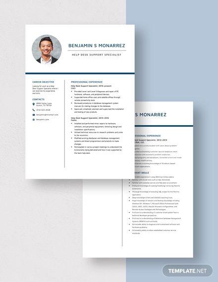 Help Desk Support Specialist Resume Template In 2020 Resume Template Resume Templates