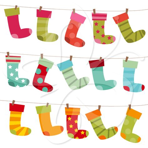 This Christmas stocking clip art features images of a variety of colorful stockings, making it useful for several purposes in your Christmas clip art collection.   #clipart