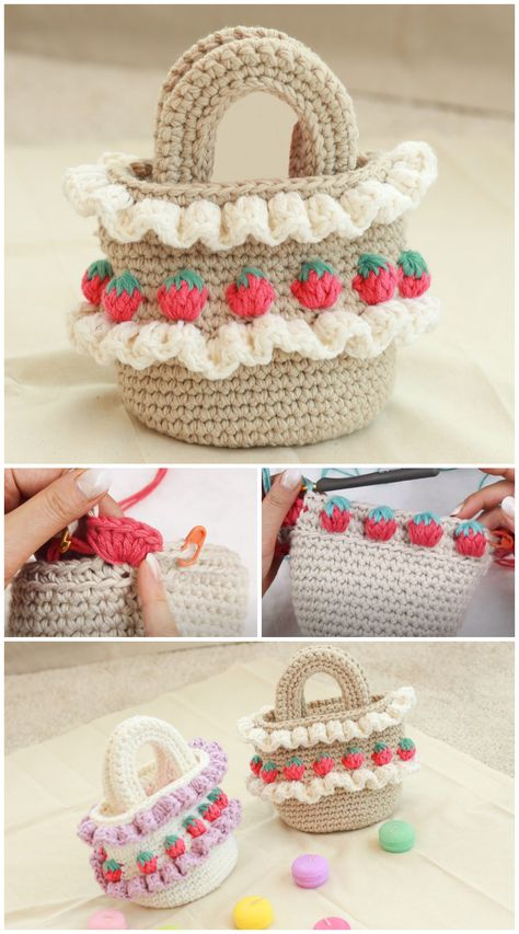 We are going to learn How to Crochet Strawberry Stitch Bag. Have you discovered the super cute 'Strawberry Crochet Stitch Pattern' before? What a unique appearance and texture it has. Did you see all the strawberries growing everywhere? On shoes, earrings, clothes… Every fashion accessory you can think of really ! So why not as a bag and a purse ! And why not making it grow yourself !