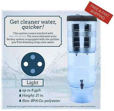 Berkey Light Water Filter System with 2 Black Berkey Filters w White