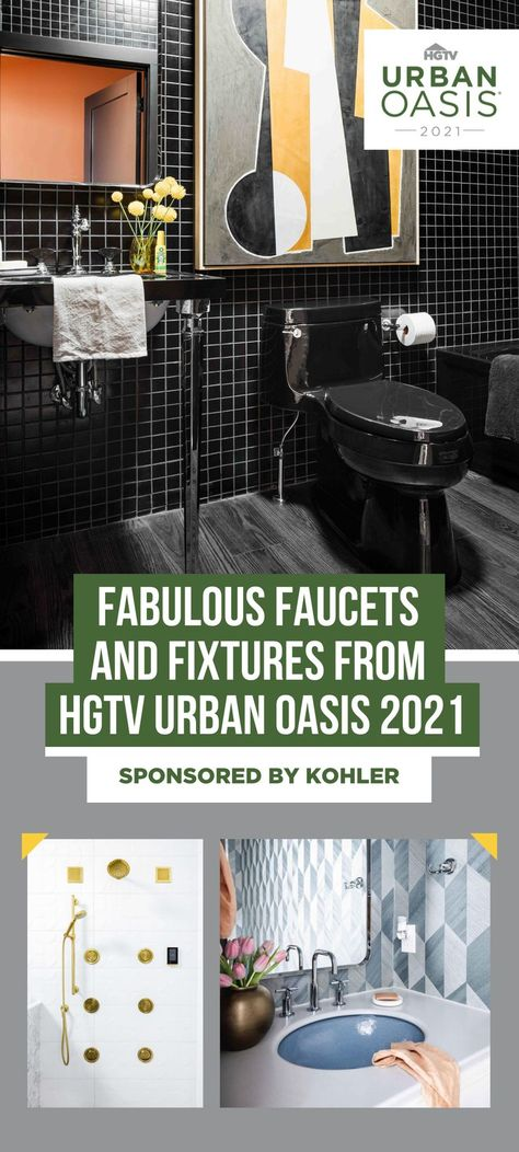 Elegant *and* innovative. ✨ Discover the unique Kohler faucets and fixtures in HGTV Urban Oasis 2021. 🛁 From a rose gold faucet in the kitchen to matte black fixtures in the guest bath, this year's home features stylish touches that elevate this Indianapolis cottage to a whole new level. Sponsored by Kohler.