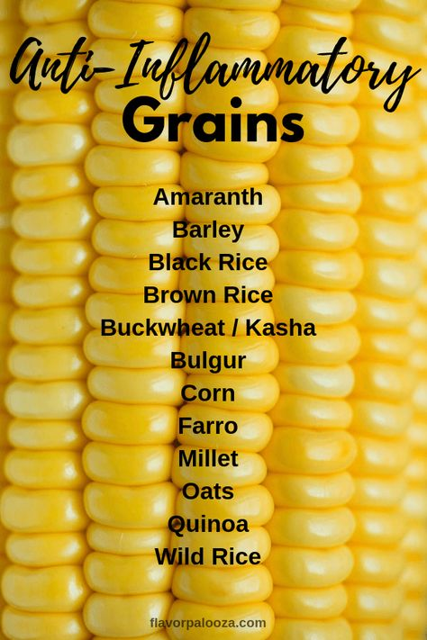 an anti-inflammatory diet? Here's a complete list of anti-inflammatory grains. On an anti-inflammatory diet? Here's a complete list of anti-inflammatory grains. Anti Inflammatory Foods List, Anti Inflammatory Smoothie, Whole Food Recipes, Diet Recipes, Healthy Recipes, Crockpot Recipes, Photo Food, Korn, Diet Meal Plans