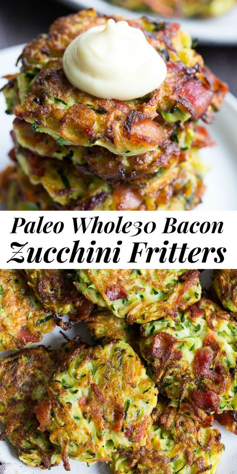 These savory bacon zucchini fritters are easy to make, packed with veggies and downright addicting! They're delicious served as a side dish or appetizer with homemade ranch dip. These healthy fritters are also paleo, friendly, gluten free and dairy free. Healthy Food Recipes, Clean Eating Recipes, Whole Food Recipes, Diet Recipes, Healthy Eating, Paleo Zucchini Recipes, Whole 30 Easy Recipes, Paleo Bacon, Healthy Dips