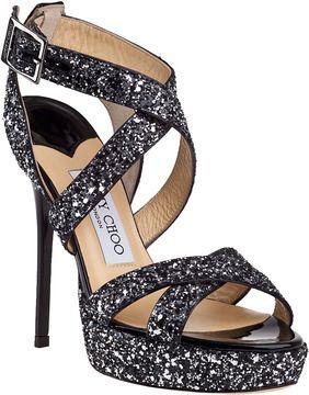ada9bd327 JIMMY CHOO Vamp Evening Sandal Black Glitter on shopstyle.com