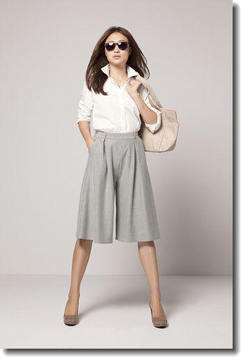 グレーガウチョで大人なスタイル! ◇コンサバ系ファッション