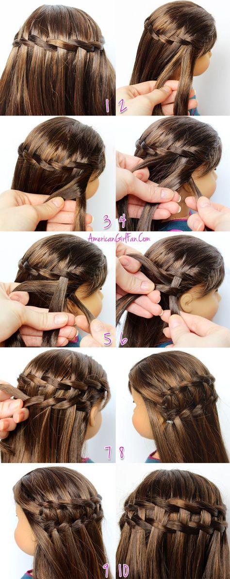Hair Style Girl ways to style american girl doll hair Ag Doll Hairstyles, American Girl Hairstyles, Little Girl Hairstyles, Cute Hairstyles, Braided Hairstyles, Updo Hairstyle, Wedding Hairstyles, Waterfall Twist, Waterfall Braids