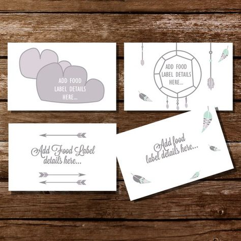 Tribal Baby Shower Food Labels In Grays And White Tent Cards Food