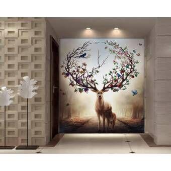 Winterscape Horned Deer Nordic Textile Wallpaper Wall Murals Mural Forest Wall Art