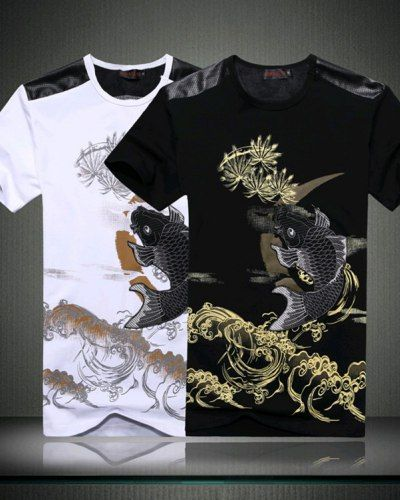 5703a431268 Black koi embroidered t shirts for men chinese style carp fish tee ...