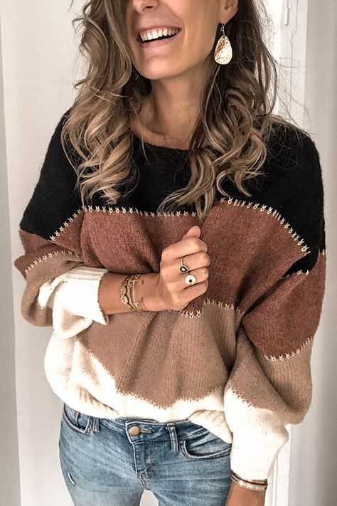 stitched colorful knit sweater comfy female sweater online crew neck pullover sweaters oversized stylish knitted sweater for ladies pullover fall sweaters #offtheshoulder #sweater #knit #pullover#colorblock #stripes #crewneck