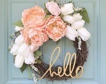 Blush and Gold Wreath // Hello // Home Decor // Spring Wreath // 12