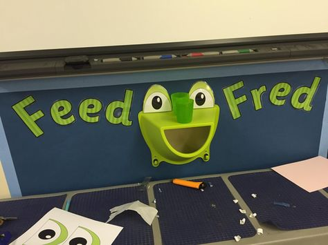 Create an interactive display for use in your KS1 classroom. Perfect for schools that teach through the RWI phonics scheme. Buy a 'KROKIG' wall storage unit from IKEA (currently £3) and add these eyes to make a frog.   This could be used to sort sounds - e.g. only put words with certain sounds in the frogs mouth (Sound of the day?).   'DS Primary' on Facebook