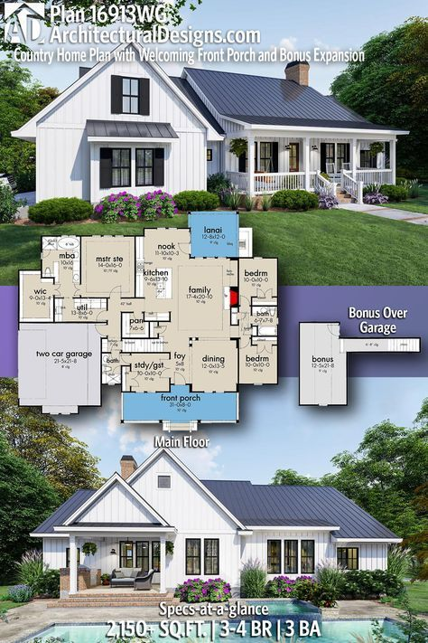 Plan 16913wg Country Home Plan With Welcoming Front Porch And Bonus Expansion In 2020 Country House Plans House Plans Farmhouse Modern Farmhouse Plans